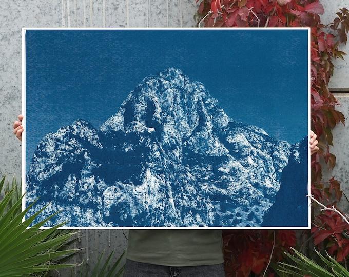 Yosemite Blue Mountain / Cyanotype Print on Watercolor Paper / 100x70 cm