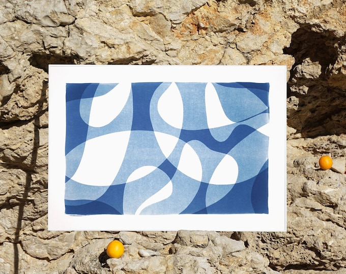 Contour Silhouettes in Blue / Monotype - Cyanotype on Watercolor Paper