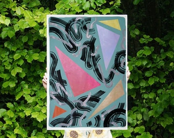 Eighty Primary Shapes on Green / Acrylic Painting on Paper / 100x70 cm / 2021