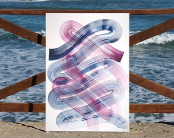 Minimalist Blue and Purple Brushstrokes / Acrylic Painting on Paper / 2021