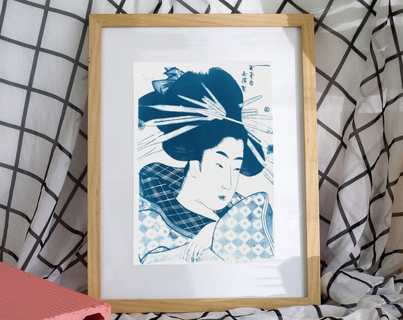 Geisha with Chopsticks in Hair, Japanese Art Cyanotype, Japanese Vintage Art, Ukiyoe, Kimono, Oriental Style, Zen Decor, Japan Lover, Asian