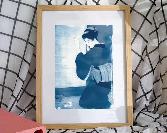Japanese Geisha Cutting Flowers, Cyanotype, Ukiyoe, Asian Artwork, Traditional Japanese, Asian Decor, Kimono Art, Japan Lover, Woodblock Art