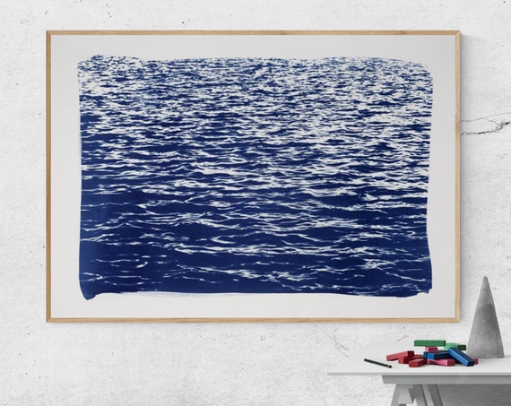 Meaningful Blue Waves Seascape, Limited Edition Handmade Cyanotype Print 70x100 cm