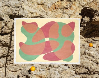 Mid-Century Translucent Shapes / Acrylic Painting on Paper / 2021