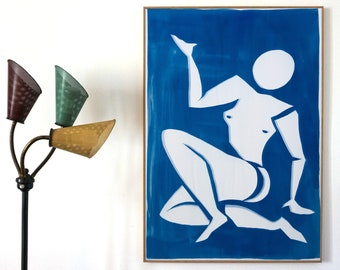 Matisse Cutout Inspiration / 100x70 cm Cyanotype on Watercolor Paper / Unique Monotype