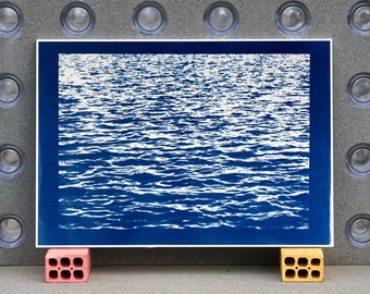Large Cyanotype: Mediterranean Blue Sea Waves / 100x70cm / Limited Edition /