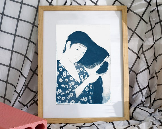 Geisha Combing Hair by Hashiguchi, Japanese Cyanotype, Girlfriend Gift, For Her, Japan Lover, Kimono Art, Asian Decor, Japan Lover, Oriental