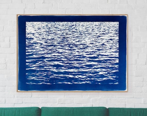 Large Cyanotype: Mediterranean Blue Sea Waves / 100x70cm / Limited Edition /