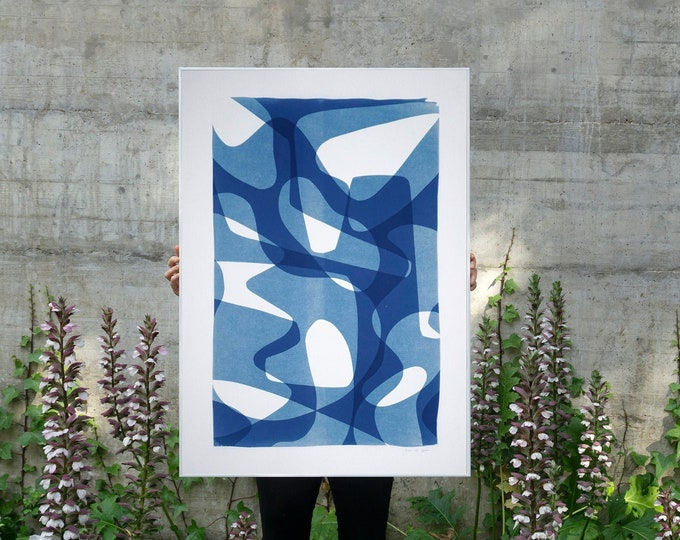 Jazzy Fifties Shapes / Monotype-Cyanotype on Watercolor Paper