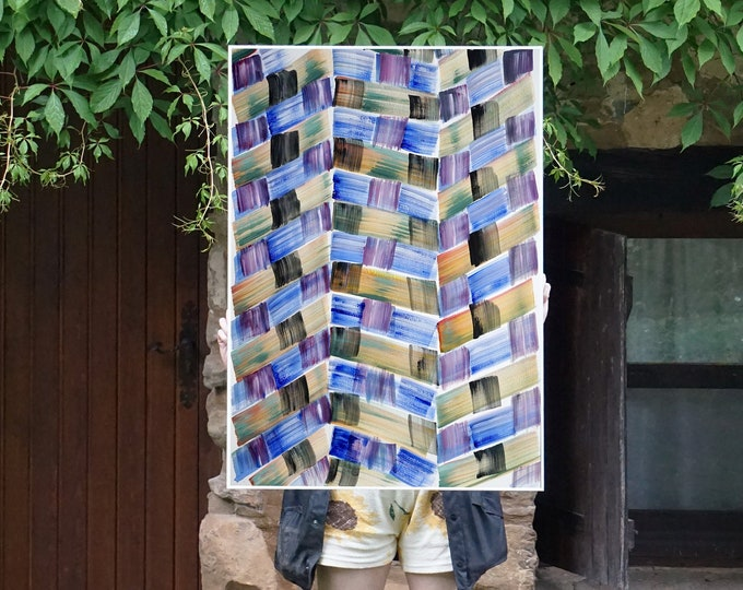 Cool Brushstrokes Patchwork / Acrylic Painting on Paper / 2021