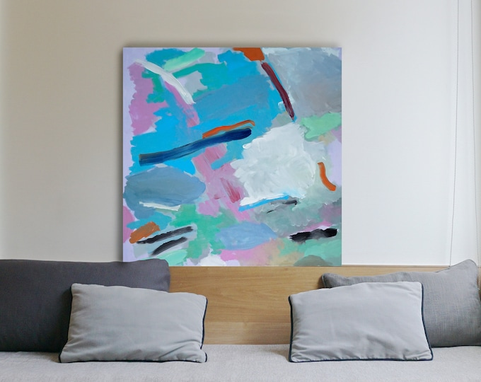 2021, Squared Oil Painting on Linen, Blurry City Dream, Fresh Tones, Vigorous Brushstrokes, Abstract Expressionism, Pastel Tones
