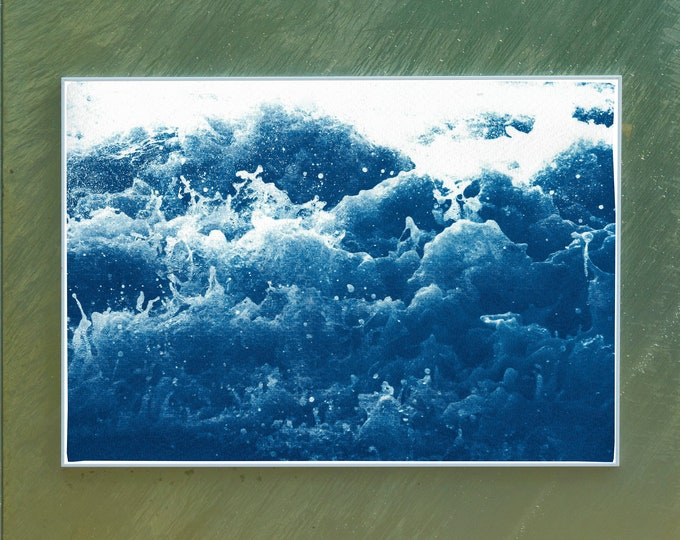 Abstract Crashing Water / Cyanotype Print on Watercolor Paper / 100x70 cm / Limtied Edition