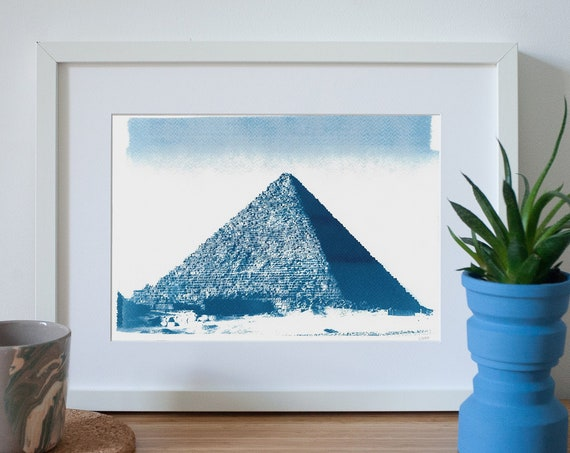 Egyptian Pyramid Cyanotype Print, The Great Pyramids of Giza, Ancient Egypt, Egypt Gift, Egyptian Art, Digital Decor, Ancient Art, Egypt