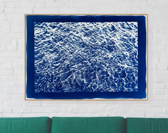 Handprinted Cyanotype Print: Waves Sea Texture. 100x70cm / Limited Edition
