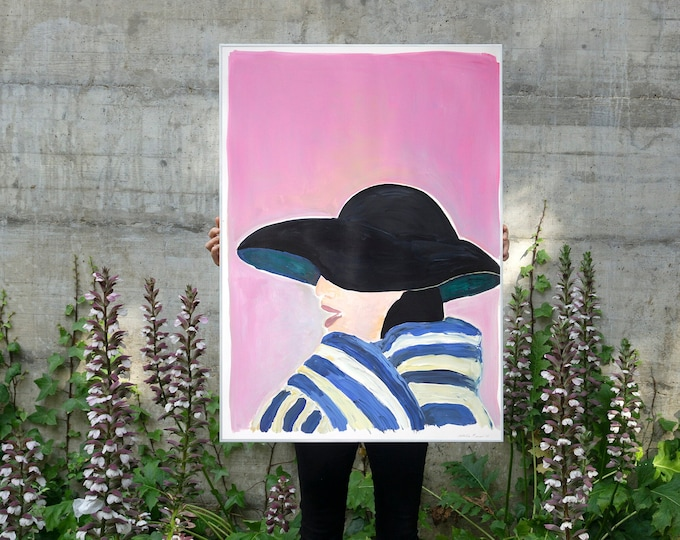 Fifties Fashion Figure on Pink / Acrylic Painting on Paper / 2021