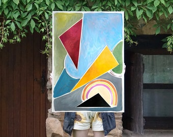 Pastel Constructivist Triangles / Acrylic Painting on Paper / 2021