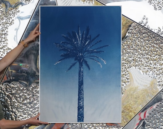 Nile River Palm /100x70cm/ Botanical Cyanotype Print on Watercolor Paper / Limited Edition