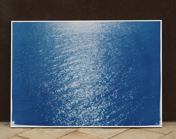 """Tuscany Sea Reflections"" / Cyanotype Print on Watercolor Paper / 50x70cm / Limited Edition"