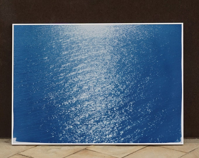 """""""Tuscany Sea Reflections"""" / Cyanotype Print on Watercolor Paper / 50x70cm / Limited Edition"""