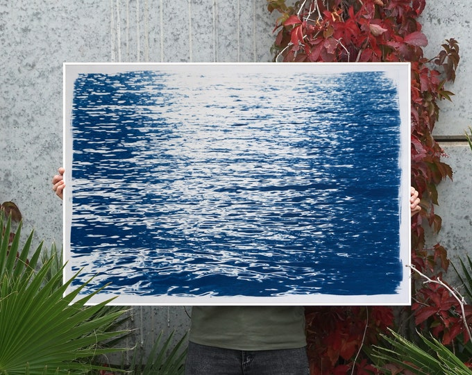 Abstract Ripples Under Moonlight / Cyanotype on Watercolor Paper / 2020