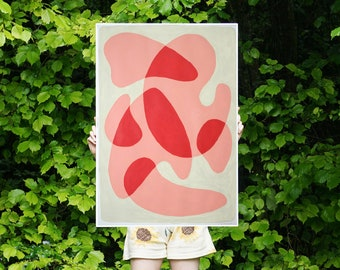 Rounded Simple Shapes in Warm Tones / Acrylic Painting on Paper / 2021