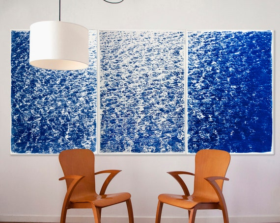 "Triptych ""The Cove"" / Cyanotype Print on Watercolor Paper / Limited Edition / 100 x 210 cm"