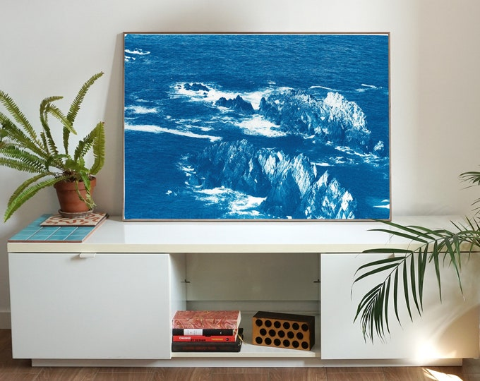 Oregon Coast Rocks / Handmade Cyanotype Print on Watercolor Paper / 2020