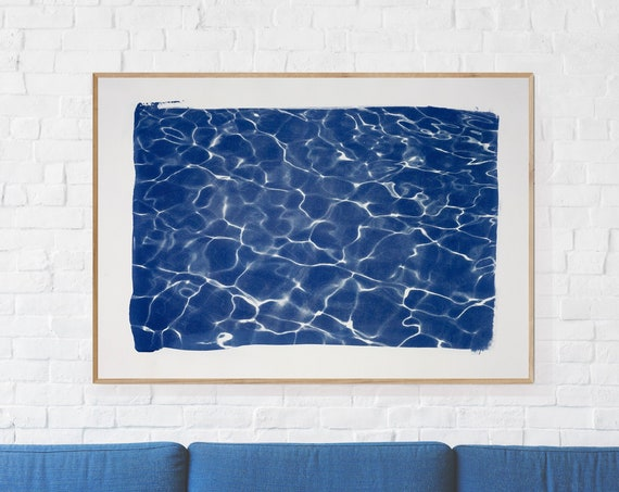 Handmade Large Cyanotype Print: Swimming Pool Water Reflection / 100x70cm / Limited Edition /