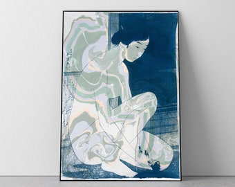 Hashiguchi Goyo Inspired Ukiyo-e / Cyanotype and Marbling on Watercolor Paper / 2020