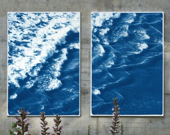 Rolling Waves off Sidney / Cyanotype on Watercolor Paper / 100x140 cm / Limited Edition