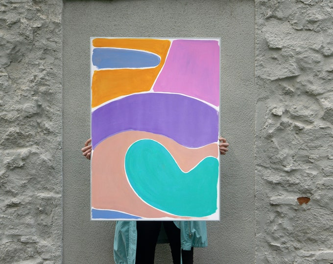 Pastel Kidney Pool / Acrylic Painting on Paper / 2021