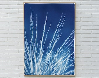 Glowing Fireworks Lights / Handmade Cyanotype Print on Watercolor Paper / 100x70 cm / Limited Edition