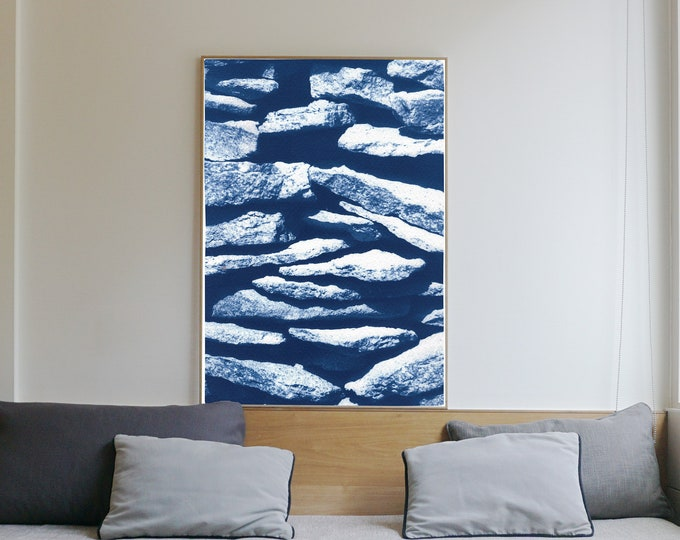 Flat Stone Stack / Cyanotype on Watercolor Paper / Limited Edition