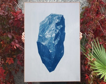 "Title: ""Sculpted Mineral Render"" / Cyanotype on Watercolor Paper / 100x70cm / Limited Edition"