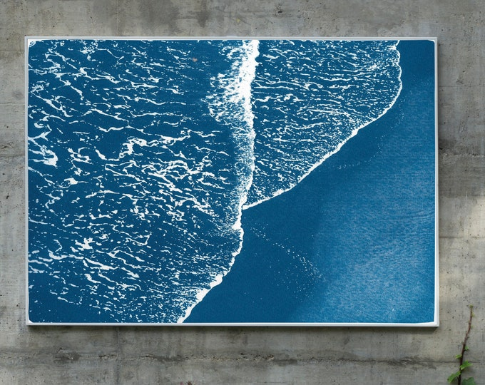 Pacific Foamy Shoreline / Cyanotype Print on Watercolor Paper / Limited Edition