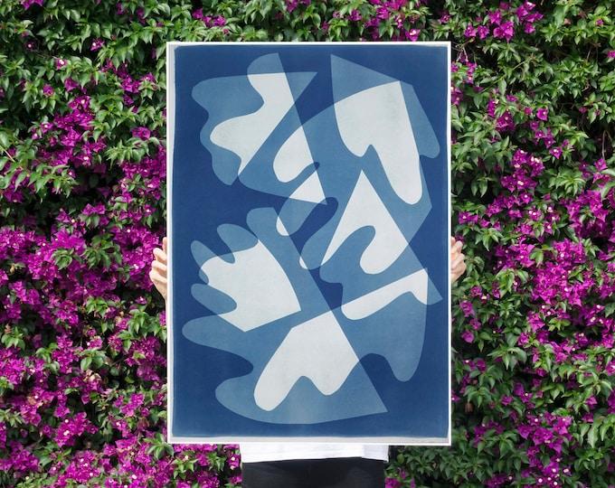 Walking on Glass / Monotype - Cyanotype on Watercolor Paper / 2021