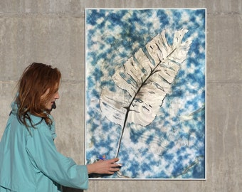 Traditional Cyanotype Leaf with a Marbling Touch / 100x70cm / Mixed Media on Watercolor Paper / Unique