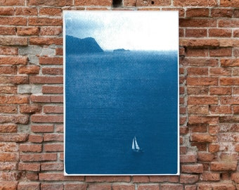 Misty Sailboat Journey / Nautical Cyanotype on Watercolor Paper / Limited Edition
