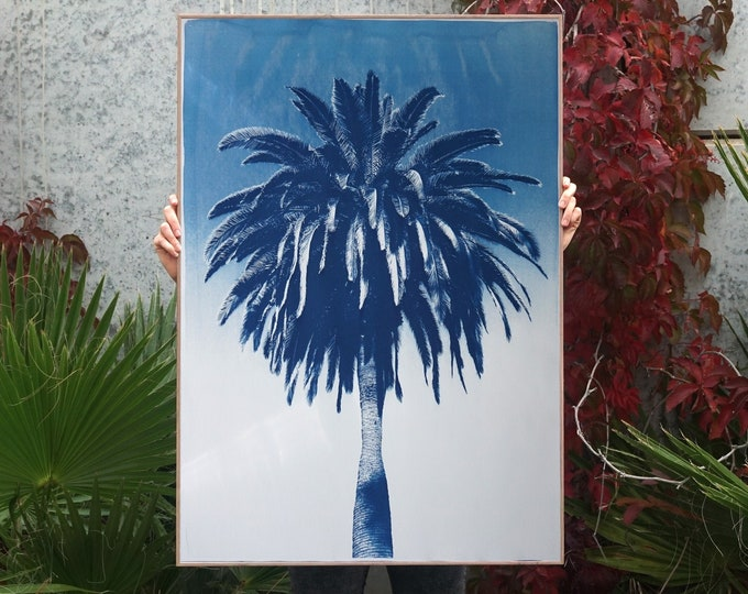 Featured listing image: Marrakesh Majorelle Palm / 100x70cm / Cyanotype Print on Watercolor Paper / Limited Edition