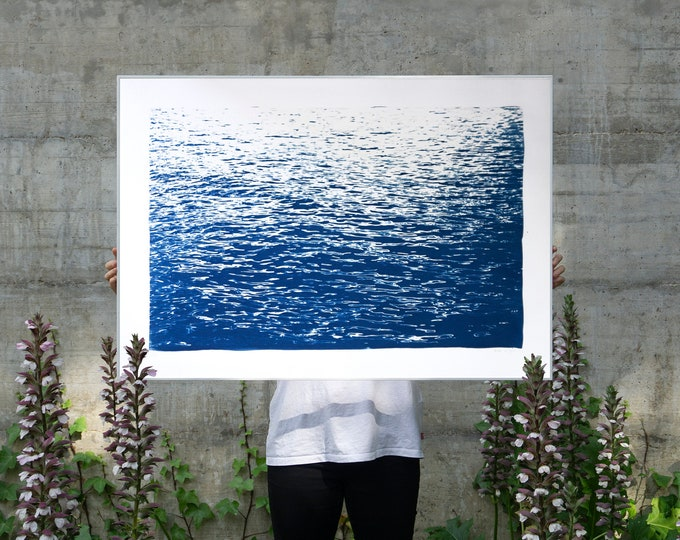 Calming Sea Ripples in Blue / 100x70 cm / Cyanotype on Watercolor Paper / Limited Edition