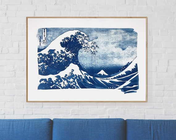 Large Cyanotype Print: The Great Wave Off Kanagawa. 100x70cm  / Limited Edition /