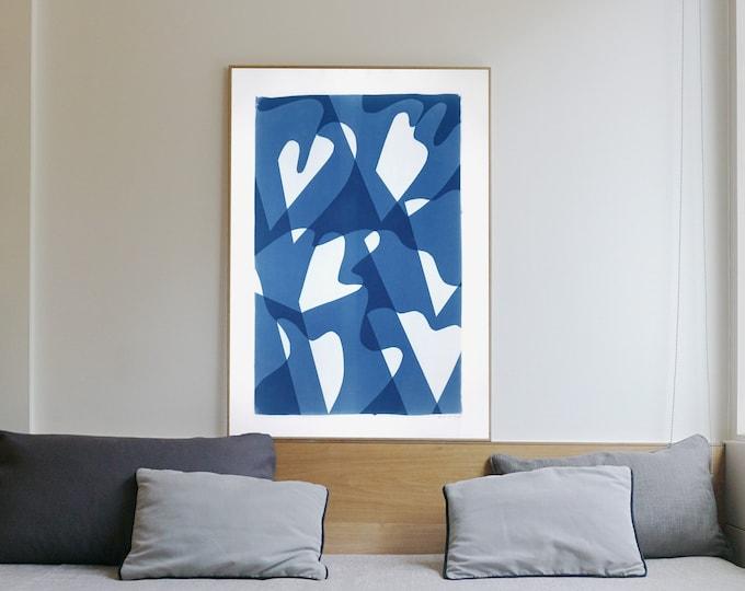 Wind over Waters / Monotype-Cyanotype on Watercolor Paper / 2021