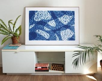 Fish Swimming Below Water II / Cyanotype Print on Watercolor Paper