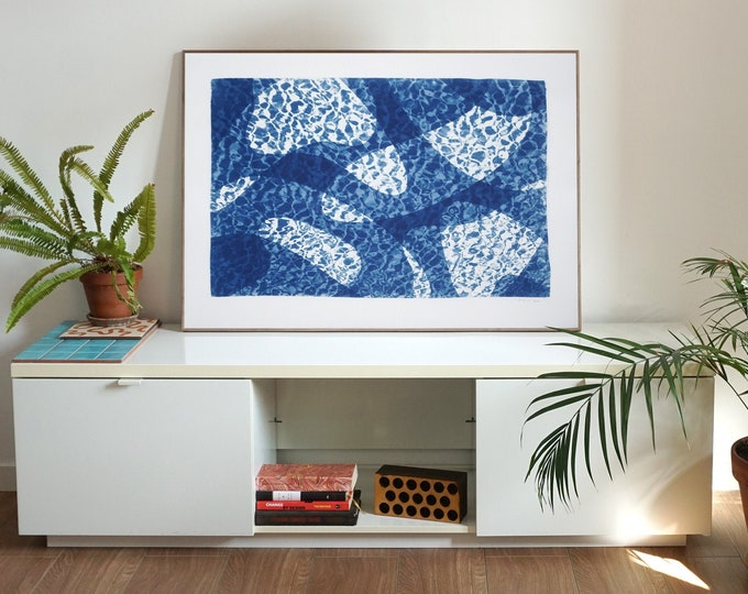 Featured listing image: Fish Swimming Below Water II / Cyanotype Print on Watercolor Paper