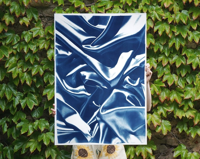 Marble Blue Silk Pattern / Handmade Cyanotype on Watercolor Paper / 2021