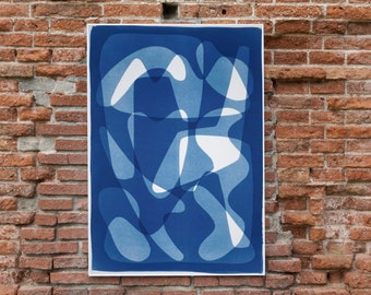 Geometric Mid-Century Vibes I / Monotype - Cyanotype on Watercolor Paper / 2021