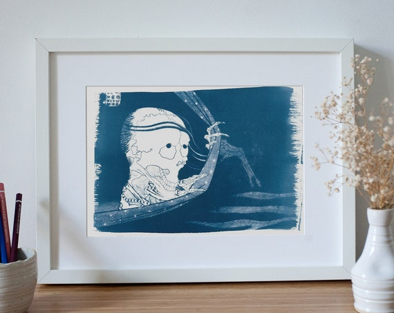 Japanese Skull from a Traditional Ukiyo-e Woodblock, Cyanotype Print, Japanese Art, Japanese Decor, Asian Art, Oriental Decor, Japan Lover