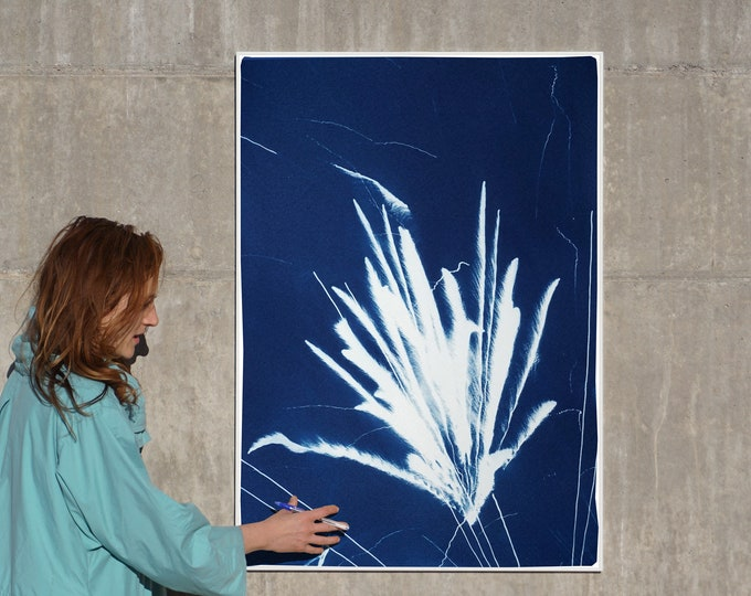 Featured listing image: Sparkling Firework Burst / Cyanotype Print on Watercolor Paper / 100x70 cm / Limited Edition