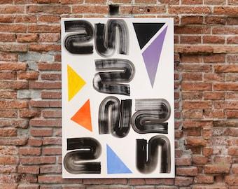 Primary Grid Swirls II / Acrylic on Paper / 2021
