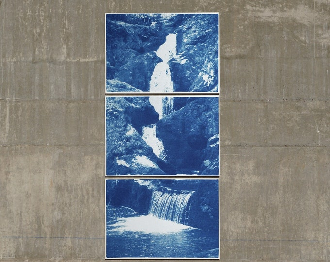 Zen Forest Waterfall / Handmade Cyanotype on Watercolor Paper / Limited Edition